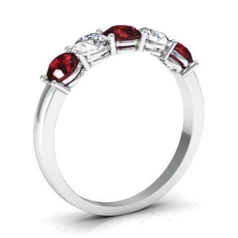 1.00cttw Shared Prong Garnet and Diamond Five Stone Ring Five Stone Rings deBebians