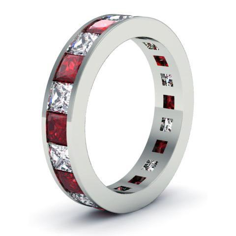 Garnet and Diamond Gemstone Eternity Band Gemstone Eternity Rings deBebians