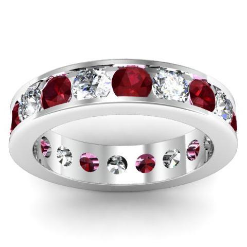 Garnet and Diamond Round Gemstone Eternity Band in Channel Setting Gemstone Eternity Rings deBebians