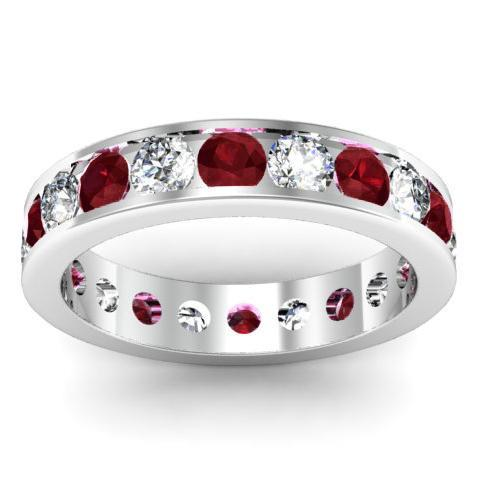 Garnet and Diamond Round Gemstone Eternity Ring in Channel Setting Gemstone Eternity Rings deBebians