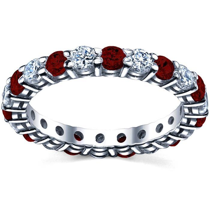 Garnet Birthstone Eternity Ring with Diamonds Gemstone Eternity Rings deBebians
