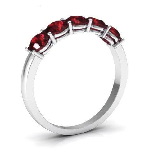 1.00cttw Shared Prong Garnet Five Stone Ring Five Stone Rings deBebians