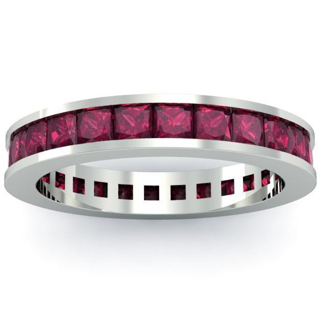 Garnet Eternity Anniversary Ring Gemstone Eternity Rings deBebians