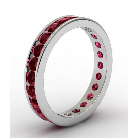 Garnet Eternity Band in Channel Setting Gemstone Eternity Rings deBebians