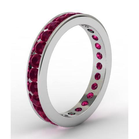 Garnet Eternity Ring in Channel Setting Gemstone Eternity Rings deBebians