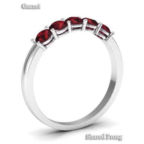 0.50cttw Shared Prong Garnet Five Stone Ring Five Stone Rings deBebians