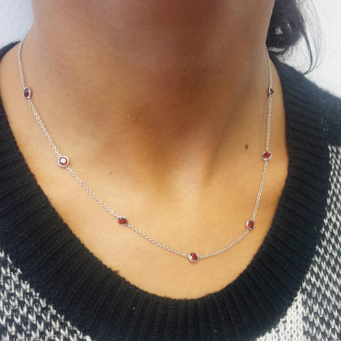 Garnet January Birthstone Station Necklace Gemstone Station Necklaces deBebians