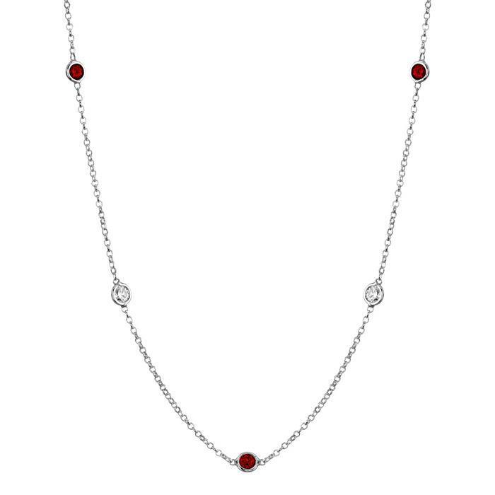 Garnets and Diamonds by the Inch Gemstone Station Necklaces deBebians