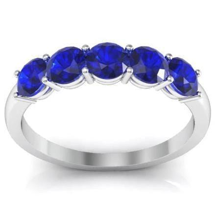 1.00cttw Shared Prong Blue Sapphire Five Stone Ring Five Stone Rings deBebians