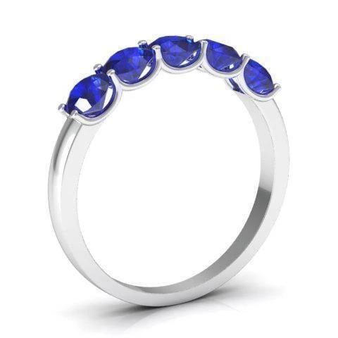 1.00cttw U Prong Blue Sapphire Five Stone Band Five Stone Rings deBebians