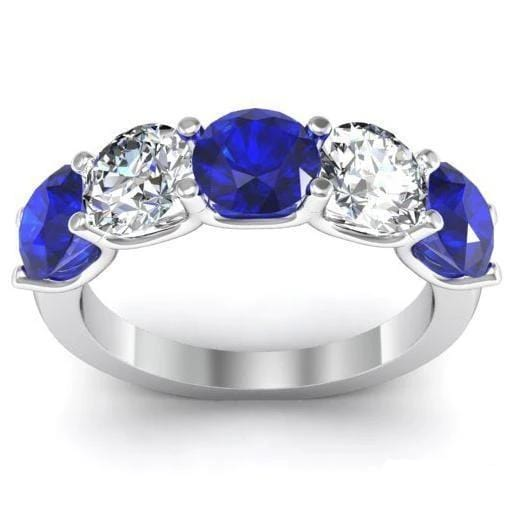 3.00cttw U Prong Blue Sapphire and Diamond Five Stone Band Five Stone Rings deBebians