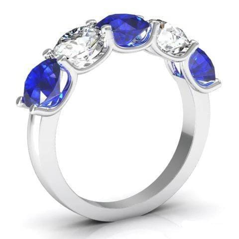 Diamonds and Blue Sapphires 5 Stone Band 3.00cttw