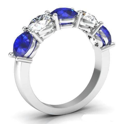 3.00cttw Shared Prong Blue Sapphire and Diamond Five Stone Ring Five Stone Rings deBebians