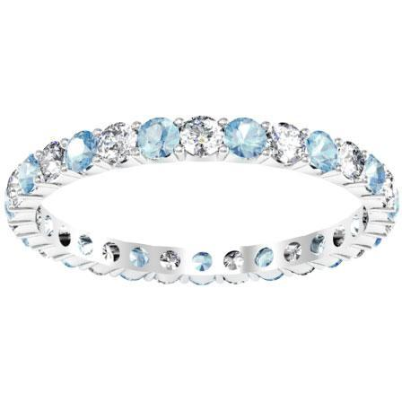 Gemstone Eternity Band with Aquamarines and Diamonds Gemstone Eternity Rings deBebians