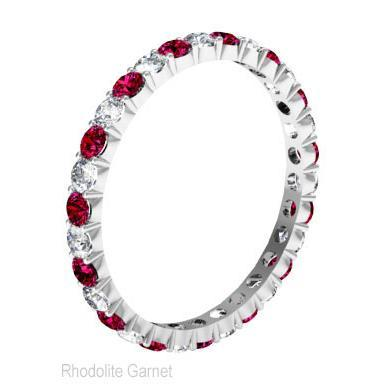 Gemstone Eternity Band with Garnets and Diamonds Gemstone Eternity Rings deBebians