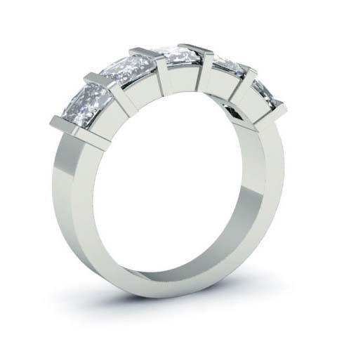 3.00cttw Bar Set Princess Cut GIA Certified Diamond Five Stone Ring Five Stone Rings deBebians