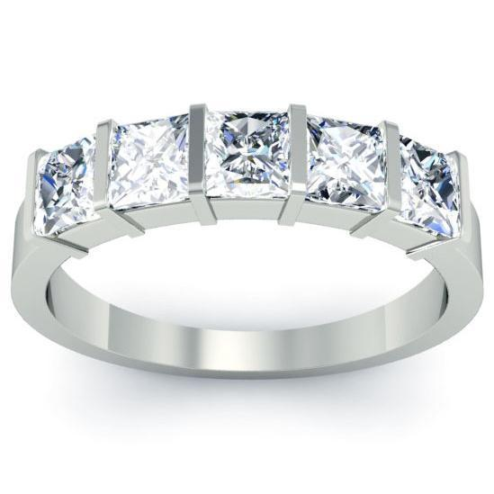 1.50cttw Bar Set Princess Cut GIA Certified Diamond Five Stone Ring Five Stone Rings deBebians