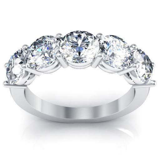 3.00cttw Shared Prong Round GIA Certified Diamond Five Stone Ring Five Stone Rings deBebians