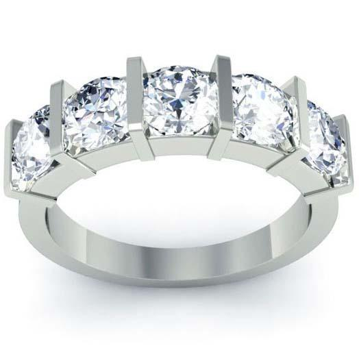 2.00cttw Bar Set Round GIA Certified Diamond Five Stone Ring Five Stone Rings deBebians