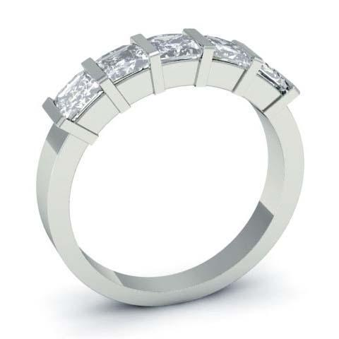 2.00cttw Bar Set Princess Cut GIA Certified Diamond Five Stone Ring Five Stone Rings deBebians