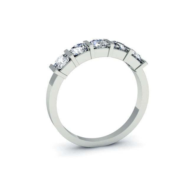 1.00cttw Bar Set Round GIA Certified Diamond Five Stone Ring Five Stone Rings deBebians