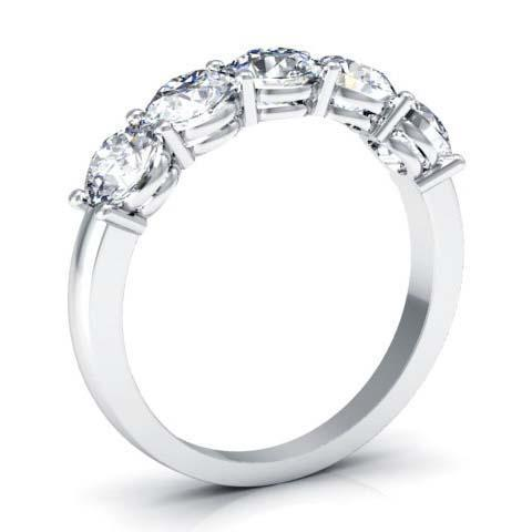 1.50cttw Shared Prong Round GIA Certified Diamond Five Stone Ring Five Stone Rings deBebians