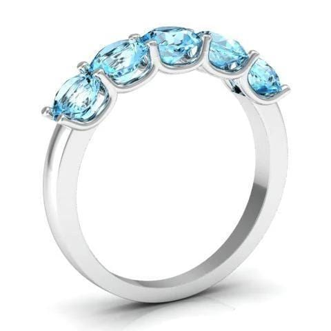 1.50cttw U Prong 5 Stone Aquamarine Band Five Stone Rings deBebians