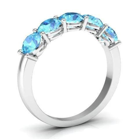 1.50cttw Shared Prong 5 Stone Aquamarine Ring Five Stone Rings deBebians