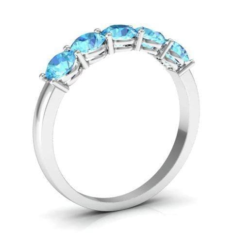 1.00cttw Shared Prong Aquamarine Five Stone Ring Five Stone Rings deBebians