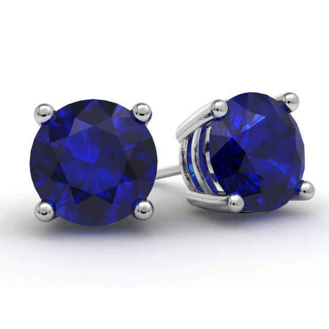 Blue Sapphire Stud Earrings Gemstone Stud Earrings deBebians