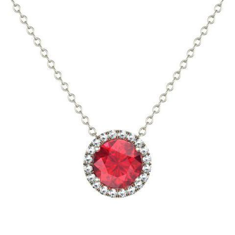 Gold Ruby Diamond Halo Pendant Diamond Necklaces deBebians