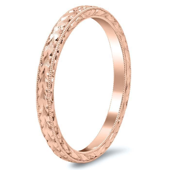 Gold Wedding Band with Hand Engraving and Milgrain Plain Wedding Rings deBebians