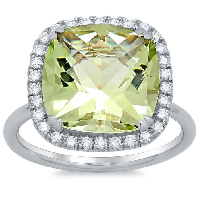 Green Amethyst Halo Fashion Ring Gift Ideas Over $1500 deBebians