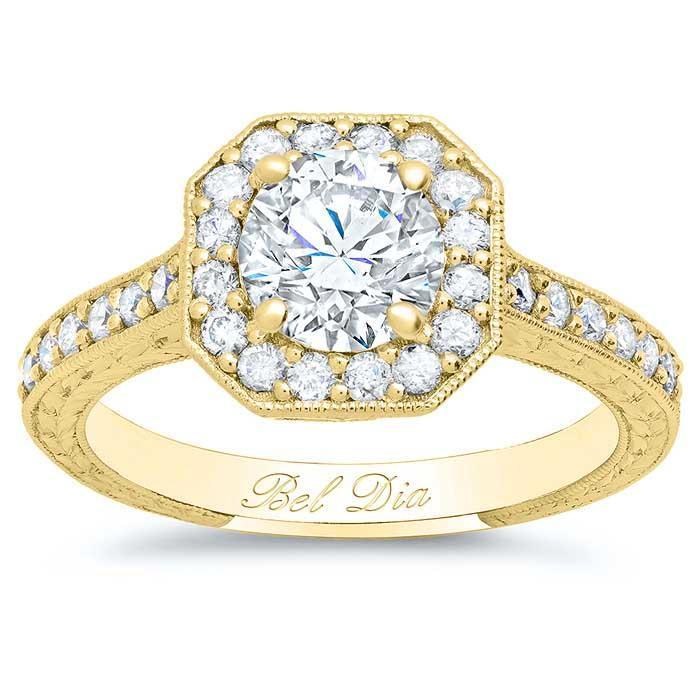 Art Deco Square Halo Setting for Round Diamond or Moissanite Halo Engagement Rings deBebians