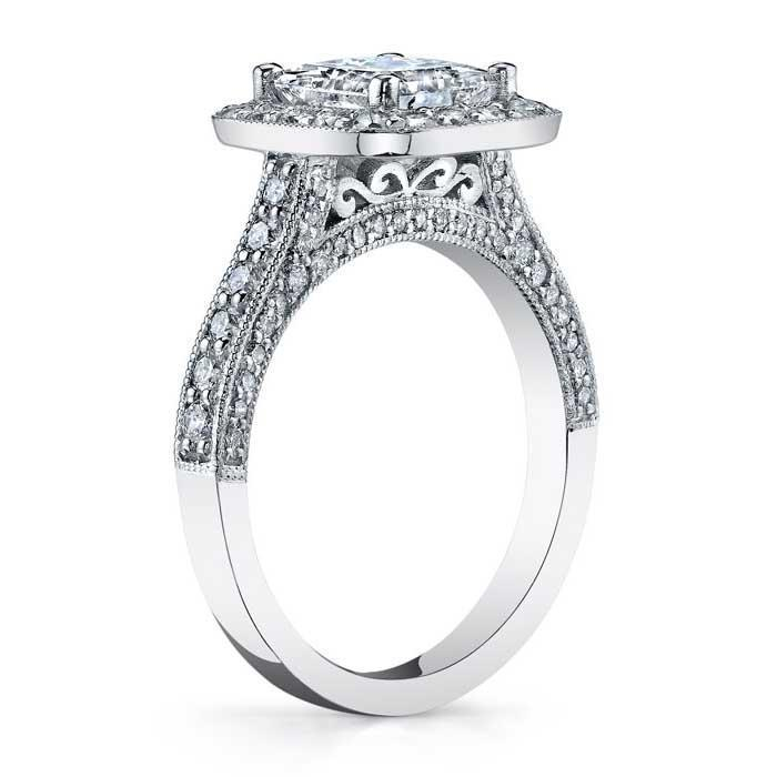Halo Setting Square Engagement Ring Halo Engagement Rings deBebians