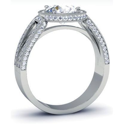 Halo Setting for Round Diamond or Moissanite with a Triple Shank Band Halo Engagement Rings deBebians