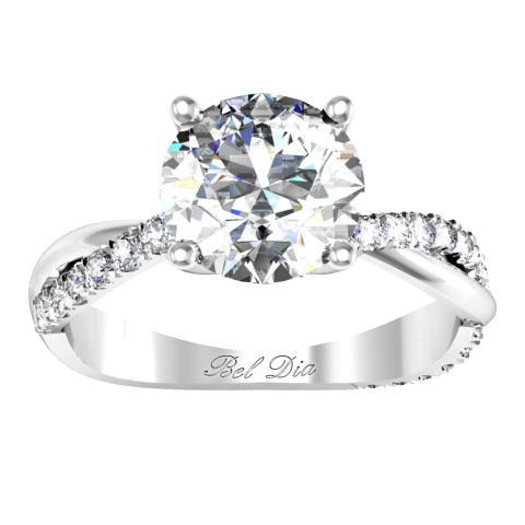 Half Pave Twisted Diamond Engagement Ring Diamond Accented Engagement Rings deBebians