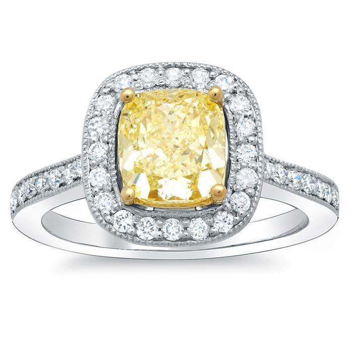 Cushion Cut Canary Diamond Ring Yellow Diamond Engagement Rings deBebians