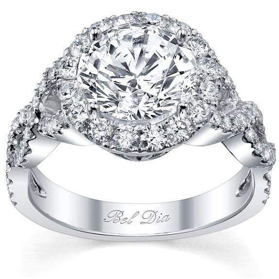 Halo Diamond Engagement Ring with Twisted Split Shank Halo Engagement Rings deBebians