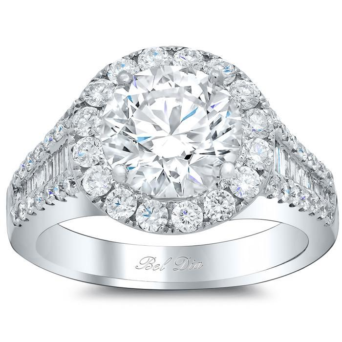 Halo Engagement Ring with Pave and Tapered Baguettes Halo Engagement Rings deBebians