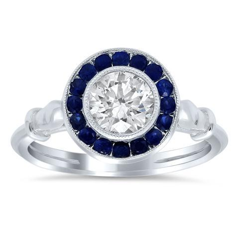 Halo Engagement Ring with Sapphires Sapphire Engagement Rings deBebians