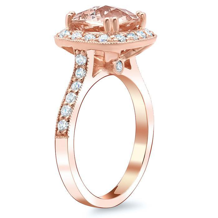 Halo Pave Engagement Ring with Morganite Rose Gold & Morganite Engagement Rings deBebians