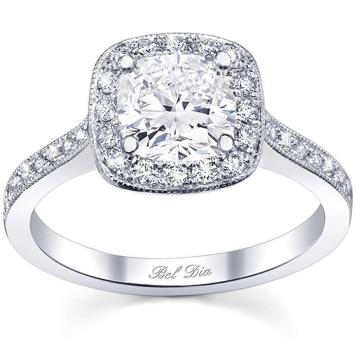 Halo Pave Engagement Ring Square Setting Halo Engagement Rings deBebians
