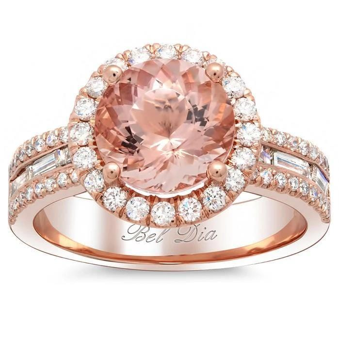 Halo Rose Gold Engagement Ring with Morganite and Baguettes Rose Gold & Morganite Engagement Rings deBebians