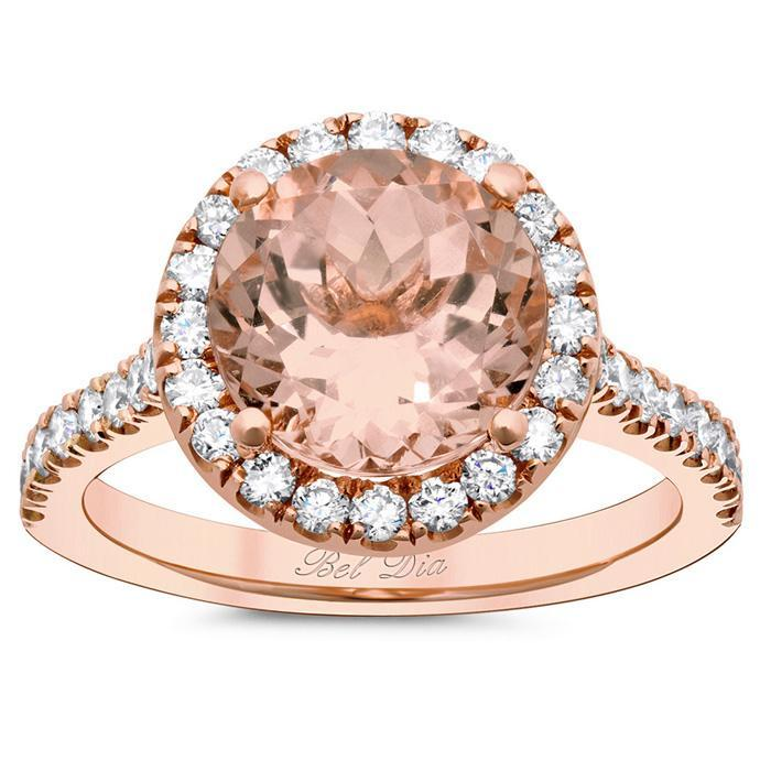 Halo Setting for Round Morganite Rose Gold & Morganite Engagement Rings deBebians