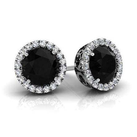 Halo Studs with Black Diamonds Diamond Halo Earrings deBebians