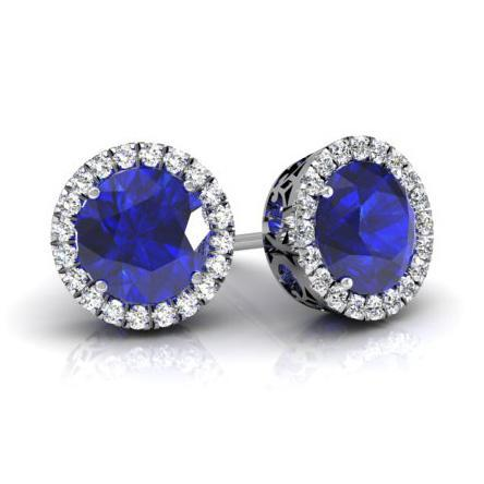 Halo Studs with Blue Sapphires Diamond Halo Earrings deBebians