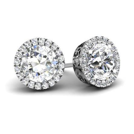 Halo Studs with Diamonds Diamond Halo Earrings deBebians