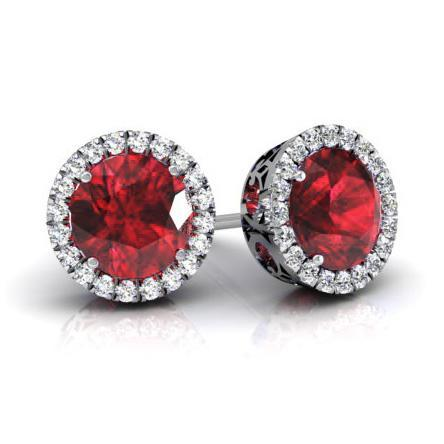 Halo Studs with Rubies Diamond Halo Earrings deBebians