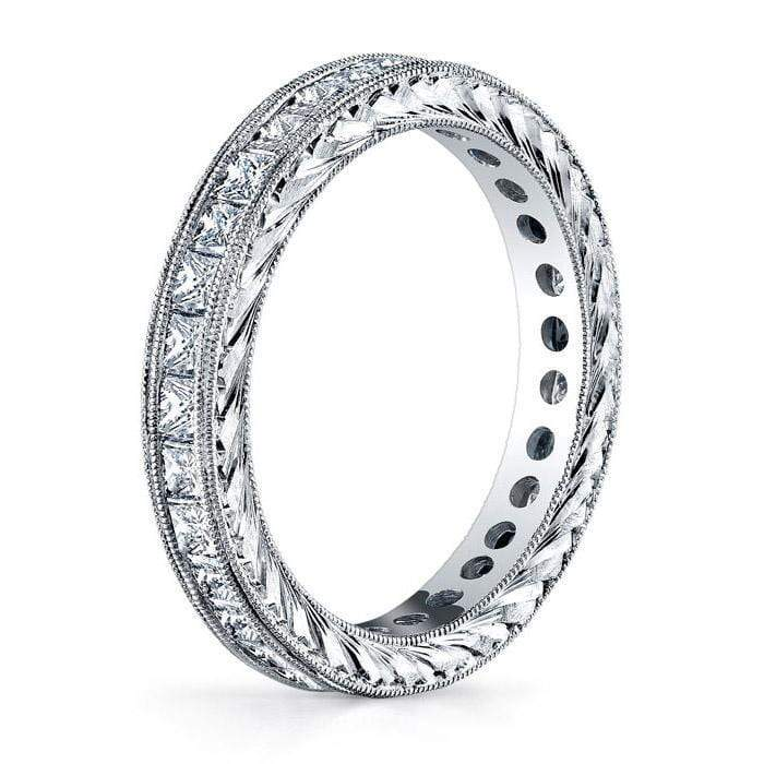 Princess Cut Channel Set Milgrain Diamond Eternity Band - 1.50 carat Diamond Eternity Rings deBebians
